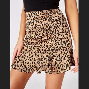 Leopard print ruched skirt
